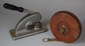 A Leather Cased Rabone Linen Tape Measure Together with a Letter Embosser or Stamp for Ewels and