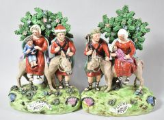 A Pair of Walton Pearlware Pottery Figures, Flight to Egypt and Return From Egypt, Modelled as the