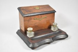 A Late 19th/Early 20th Century Desktop Inkstand, Having Stationery Box with Hinged Lid, Two