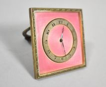 A Vintage Pink Enamel Travel Clock with Easel Back Stand, Movement Overwound, 6.5cm Square