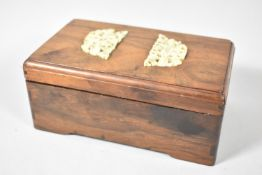 A Chinese Rosewood Box with Intricately Carved Ivory Mounts Depicting Rats In Fruit Bushes, 17cm