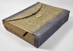 A Late 19th/Early 20th Century Cardboard Writing Slope Having Tooled Fabric Cover, 26cm wide