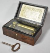 A Small French Rosewood Musical Box with 8cm Barrel Playing Six Airs entitled on Inner Paper