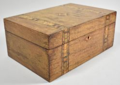 A Continental Walnut Work Box with Banded Inlay, 30cm wide