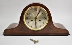 A Mid 20th Century String Inlaid Mahogany Napoleon Hat Mantle Clock with Ting-Tang Movement, 50cm