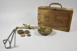 A Late 19th Century Wooden Cased Set of Brass Scales by Daniels, Class C-A 4lbs and Complete with