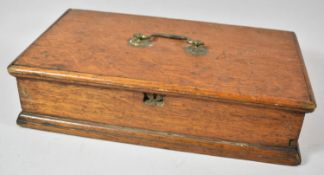 A Late 19th Century Oak Workbox with Carrying Handle and Removable Inner Tray, 39cm wide