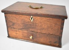 A 19th Century Lift Top Ladies Work or Sewing Box with Base Drawer, Brass Carrying Handle and