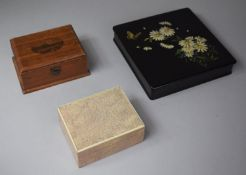 A Shagreen Rectangular Cigarette Box, Oriental Lacquered Box Decorated with Daisies and Butterfly