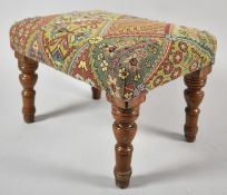 A Late Victorian/Edwardian Small Rectangular Footstool, Has had Worm and has Been Reupholstered,