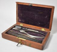 A Late 19th Century Mahogany Cased Set of Medical Instruments, 18.5cm wide