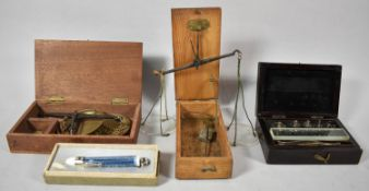 A 19th Century Cased Set of Pan Scales, Set of Edwardian Continental Weights, Brass Jewellers Pan