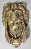 A Nice Quality Cast Brass Lion Mask Door Knocker, 18cm high
