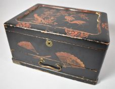 A Chinese Lacquered Work Box with Hinged Lid to Removable Fitted Tray and Base Drawer, Decorated