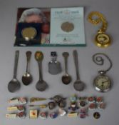 A Collection of Various Enamelled Badges Souvenir Teaspoons, Modern and Vintage Pocket Watches,