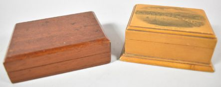 A Mauchline Ware Rectangular Box for 'Ventnor from the Sea' Together with a Small Mahogany Playing