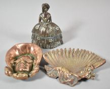 A Lead Filled Brass Crinoline Lady Doorstop, 14cm high Together with a Copper Novelty Ashtray in the