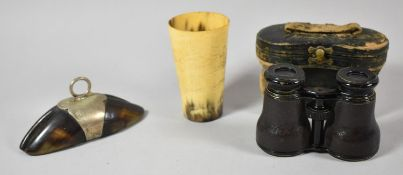A Pair of Late 19th Century Cased Opera Glasses, a Desktop Trophy Paperweight Formed from Deer's