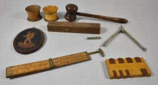 A Collection of Treenware to Include Auctioneers Gavel, Folding Ruler, Pall Mall Whist Marker,