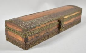 A Far Eastern Brass Mounted Scribe's Pen Box with Three Section Interior, 29cm wide