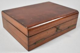 A Victorian Mahogany Three Fold Writing Compendium with Hinged Stationery Store, Penbox and Complete
