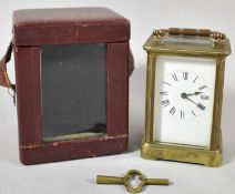 An Early 20th Century Brass Carriage Clock in Original Carrying Case with Key, Movement Working