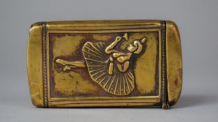 An Edwardian American Brass Vesta Decorated with Ballet Dancer and Inscribed Compliments of FA
