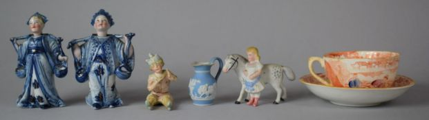 A Pair of Blue and White Oriental Nodding Head Figures, Continental Figures, Cup and Saucer etc