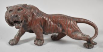 A Bronze Effect Spelter Study of a Meiji Period Tiger, Small Crack to Body, 24cm long