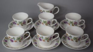 A Late 20th Century Queen Anne Floral Pattern Teaset to Comprise Six Cups, Milk Jug and Six Saucers