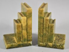 A Pair of Art Deco Alabaster Bookends in the Form of Books, Each 13cm high