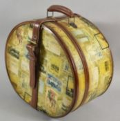 A Reproduction Oval Ladies Travelling Case with Leather Mounts, 37cm Wide