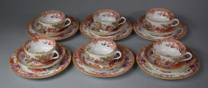 A Transfer Chinoiserie Pattern Tea Set to comprise Six Cups, Six Saucers, Side Plates Etc