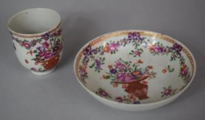 A 18th Century Hand Painted Cabinet Cup and Saucer with Oriental Vase of Flowers and Swag Decoration