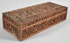 An Ornately Carved North Indian Wooden Box Decorated with Figures, Animals and Foliage, 30cm wide