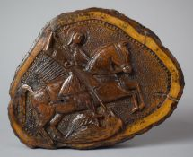 A Carved Wooden Icon Formed From a Section of Tree Trunk and Decorated with St. George and the