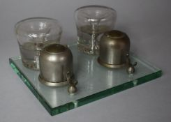 An Early 20th Century French Glass Inkstand with Penrest, Two Metal Inkwells and Two Glass Candle