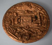 A Folk Art Circular Wall Hanging Memory Plate with Applied Found Objects to Include Padlock,