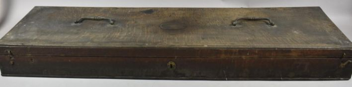 A 19th Century Oak Five Division Shotgun Case with Two Brass Carrying Handles and Oval Brass