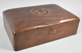 A Far Eastern Carved Hardwood Work Box with Hinged Lid and Removable Inner Tray, 30cm wide