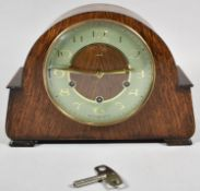 A Mid 20th Century Smiths Oak Cased Westminster Chime Mantle Clock, 28.5cm wide
