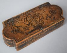 An Early Wooden Box Having Hand Drawn Royal Coat of Arms to Hinged Lid, Has Been Wormed, 13cm wide