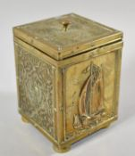 An Edwardian Brass Rectangular Tea Caddy Decorated with Islamic Panels and Fishing Barge, 16cm high