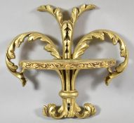 A Modern Cast Resin Wall Gilt Sconce of Fleur-de-Lys Form, 22cm high