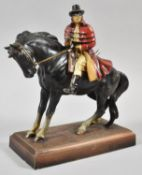 A Vintage Novelty Table Lighter in the form of Dick Turpin on Black Bess, Rectangular Plinth 18cm