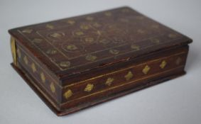 A Late 19th/Early 20th Century Brass Inlaid Colonial Rectangular Box with Push Out Demi Lune Drawer