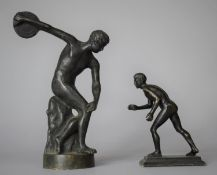 Two Grand Tour Bronze Studies of Athletes, Tallest 15cm high