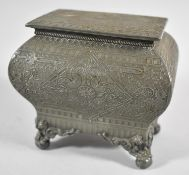 An Early 20th Century Silver Plated Tea Caddy with Hinged Lid and Four Scrolled Feet, Body
