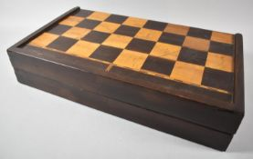 A Late 19th Century Colonial Games Box with Inlaid Chess Board Outer and Inlaid Backgammon Inner,
