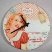A Reproduction Advertising Circular Wall Clock with Battery Movement, 30cm Diameter